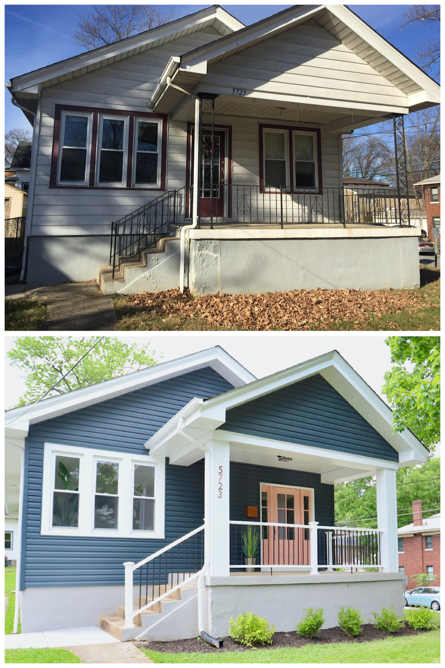 A before (top) and after (bottom) of the front exterior, which received new siding and trim, as well as new front porch railings and a new front door. The crew also installed new gutters, water heater, furnace, and AC. / Image courtesy of Nicole Nichols // Published: 6.2.20