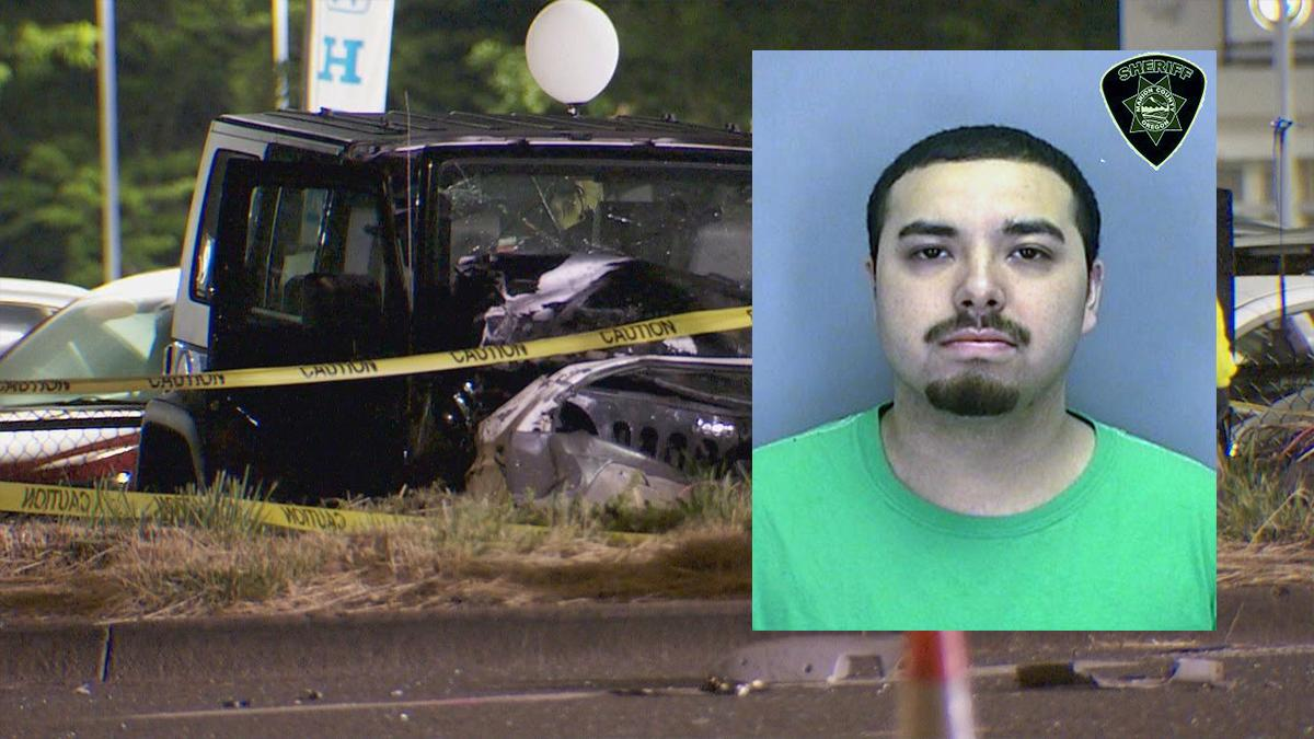 Booking photo for Juan Carlos Rodriguez Palacios, 25, of Salem alongside a photo of the vehicle he was allegedly driving under the influence - KATU and Marion County Jail photos.jpg