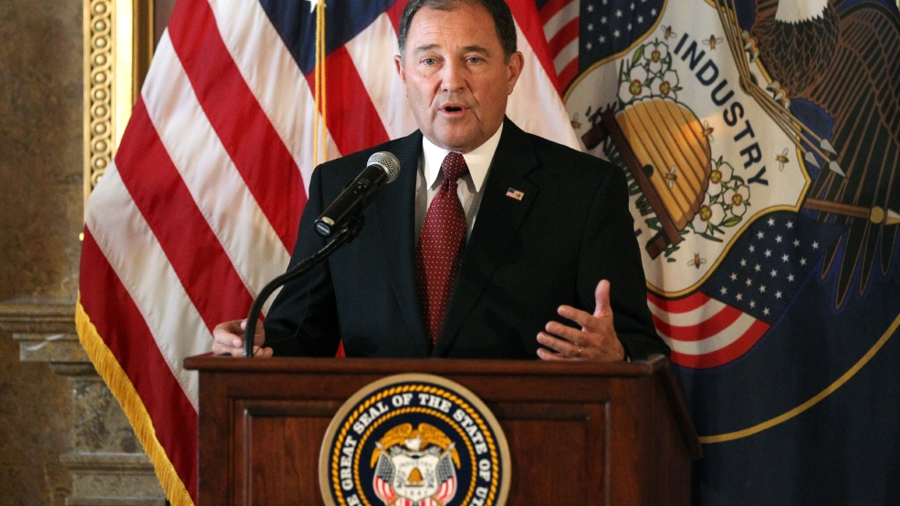 "Utah Gov. Gary Herbert speaks during a news conference Wednesday, June 25, 2014, in Salt Lake City. A federal appeals court on Wednesday ruled for the first time that states must allow gay couples to marry, finding the Constitution protects same-sex relationships and putting a remarkable legal winning streak across the country one step closer to the U.S. Supreme Court. Herbert said he was disappointed with the panel's decision and believes states should determine their own laws regarding same-sex marriage. He hopes the high court will rule on the issue to provide clarity. ""We can't get finality and final resolution unless the Supreme Court hears the case and makes a decision,"" Herbert said at a news conference. (AP Photo/Rick Bowmer)"