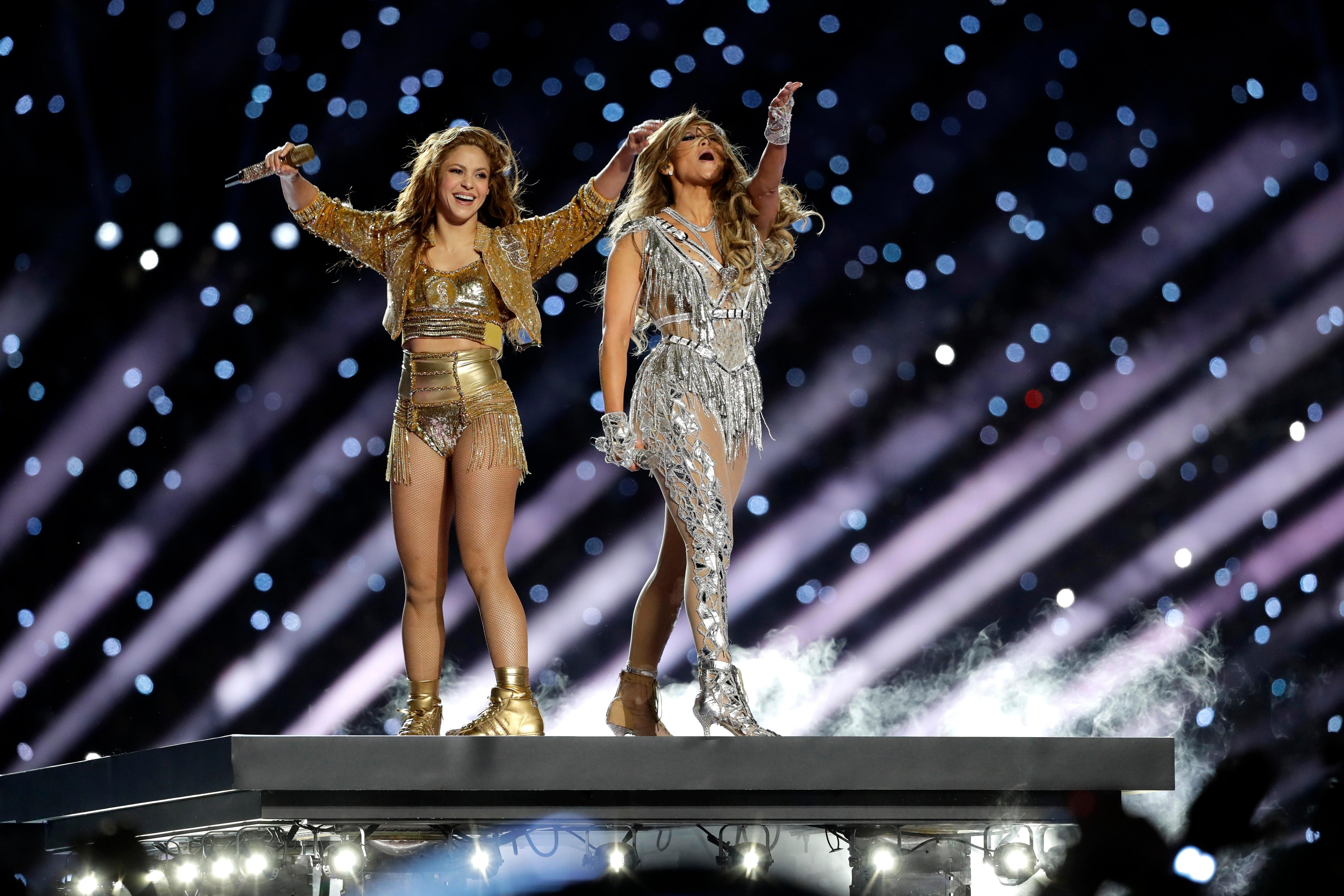 Shakira and Jennifer Lopez perform during halftime of the NFL Super Bowl 54 football game between the Kansas City Chiefs and the San Francisco 49ers Sunday, Feb. 2, 2020, in Miami Gardens, Fla. (AP Photo/Seth Wenig)