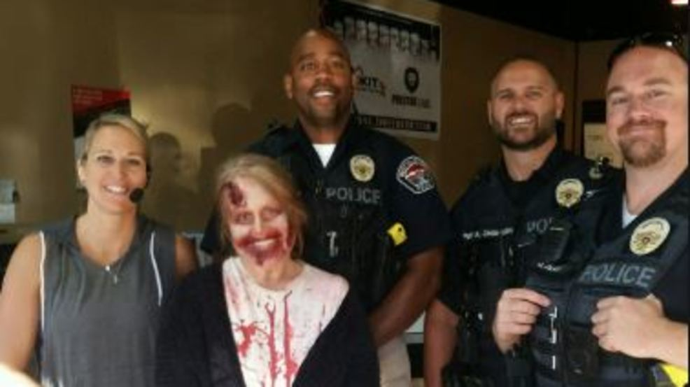 Running woman covered in blood turns out to be actress from movie set