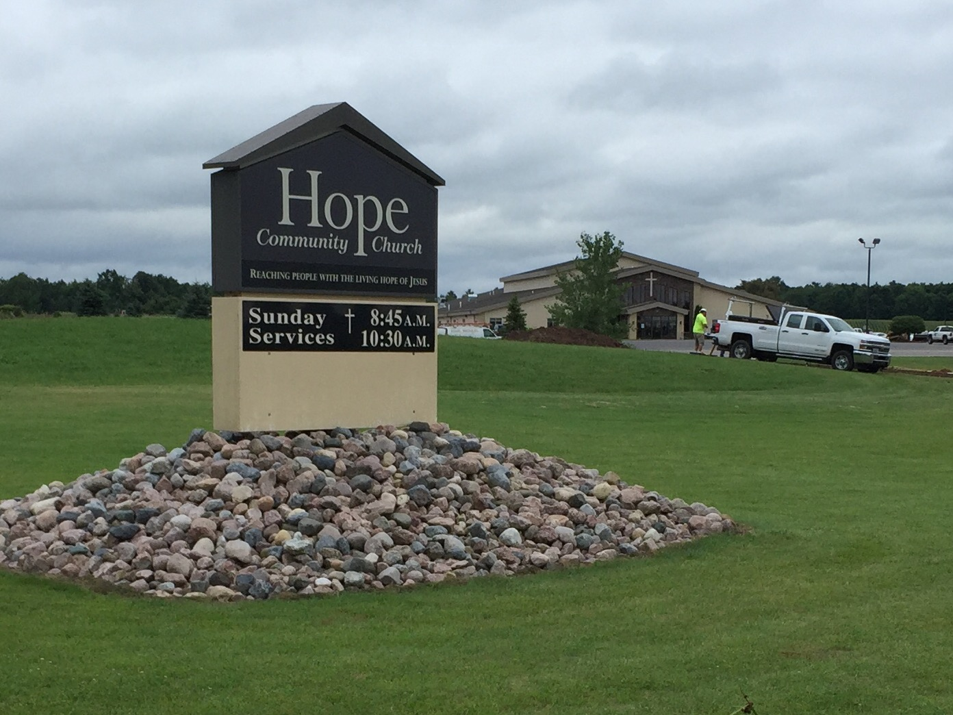 Hope Community Church east of Shawano, August 11, 2017 (WLUK/Eric Peterson)