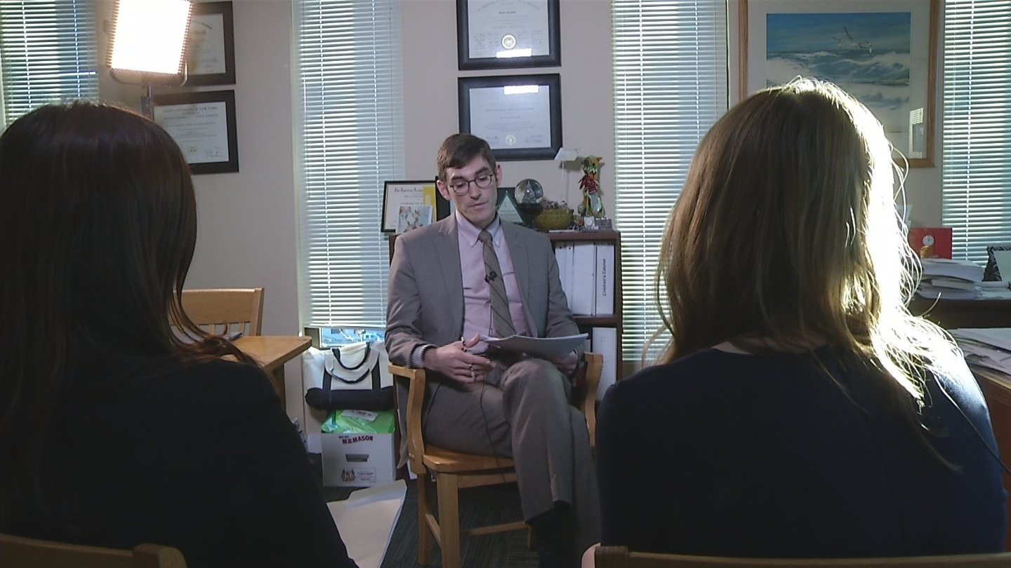 The NBC 10 I-Team bring North Providence former students' concerns over cancer to the Rhode Island Health Dept's Spokesman Joseph Wendelken. (WJAR photo)<p></p>