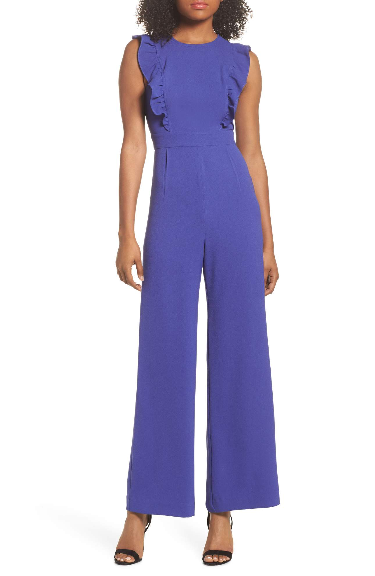 Ruffle Jumpsuit was originally $94.00 and is now $46.98with 50% off Free shipping. Charming yet sophisticated, this all-in-one jumpsuit boasts a romantically ruffled bodice, fitted waist and flowy palazzo pants.