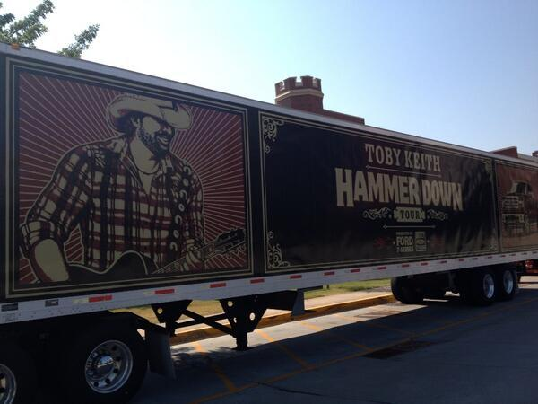 Toby Keith's tour trailer sits ready for Saturday's concert.