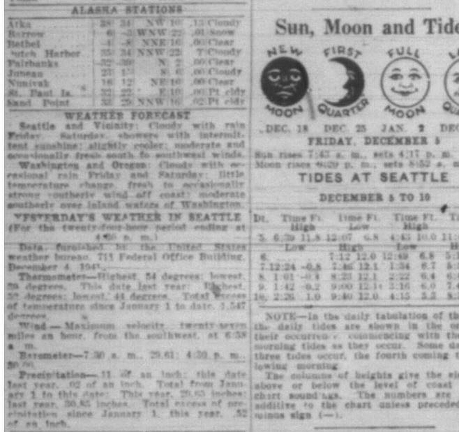 A zoomed in weather forecast as it appeared in the Seattle Post-Intelligencer on Dec. 5, 1941 (Photo courtesy, Seattle Post-Intelligencer via Seattle Public Library)