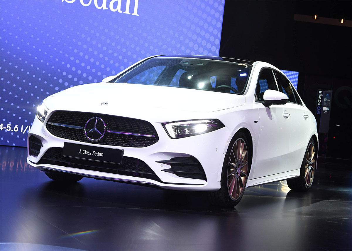 02 October 2018, France, Paris: The new Mercedes-Benz A-Class sedan will be presented at the Paris International Motor Show on the 1st press day. From 02.10. to 03.10.2018 the press days will take place at the Paris Motor Show. It will then be open to the public from 04.10. to 14. October. Photo: Uli Deck/dpaWhere: Paris, Île-de-France, FranceWhen: 02 Oct 2018Credit: Uli Deck/picture-alliance/Cover Images