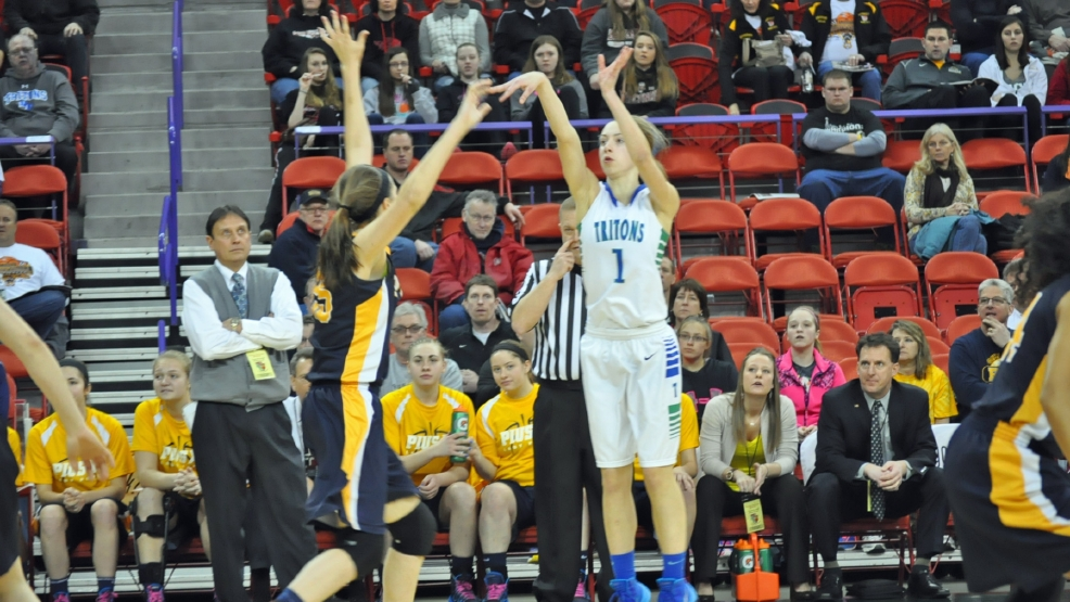 Olivia Campbell shoots a 3-pointer against Pius XI in a Division 2 state semifinal game Friday at the Resch Center. (Doug Ritchay/WLUK)
