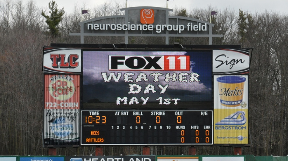 The scoreboard at Fox Cities Stadium welcomes the FOX 11 Meteorologists for Weather Day at the Timber Rattlers, May 1, 2014. (WLUK/Tyler Mankovecky)