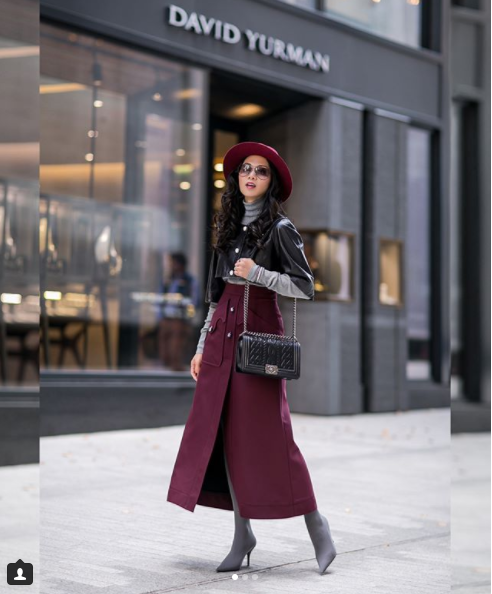 Some bloggers are inspiration even though you know you could never pull off their looks -- Holly is definitely that kind of inspiration for us. Nonetheless, we still find ourselves drooling over this burgundy, high-waisted, button-down skirt and wishing we could pull off wide brim hats like Holly. (Image: Courtesy IG user @petiteflowerpresents/{&amp;nbsp;}www.instagram.com/petiteflowerpresents/){&amp;nbsp;}<p></p>