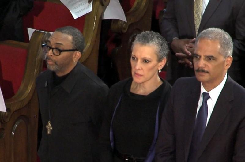U.S. Attorney General Eric Holder and Spike Lee at 16th Street Baptist Church Sunday, September 15, 2013.