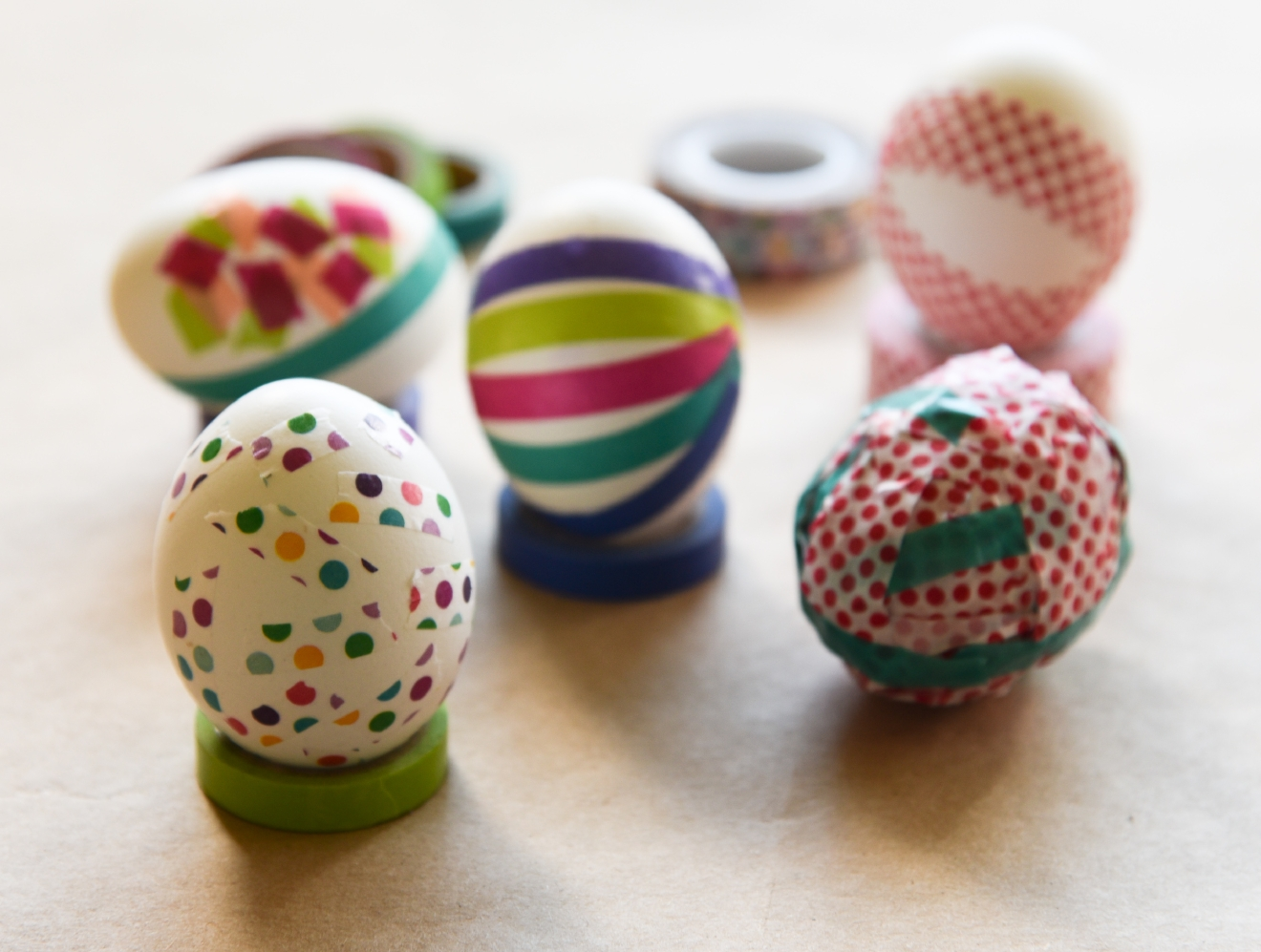 Washi Tape is a quick and fun way to decorate Easter eggs. (Image: Rebecca Mongrain/Seattle Refined)