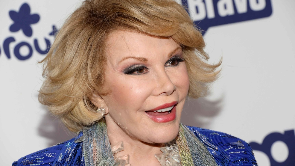 Joan Rivers attends the NBCUniversal Cable Entertainment 2014 Upfront at the Javits Center on Thursday, May 15, 2014, in New York.  (Photo by Evan Agostini/Invision/AP)