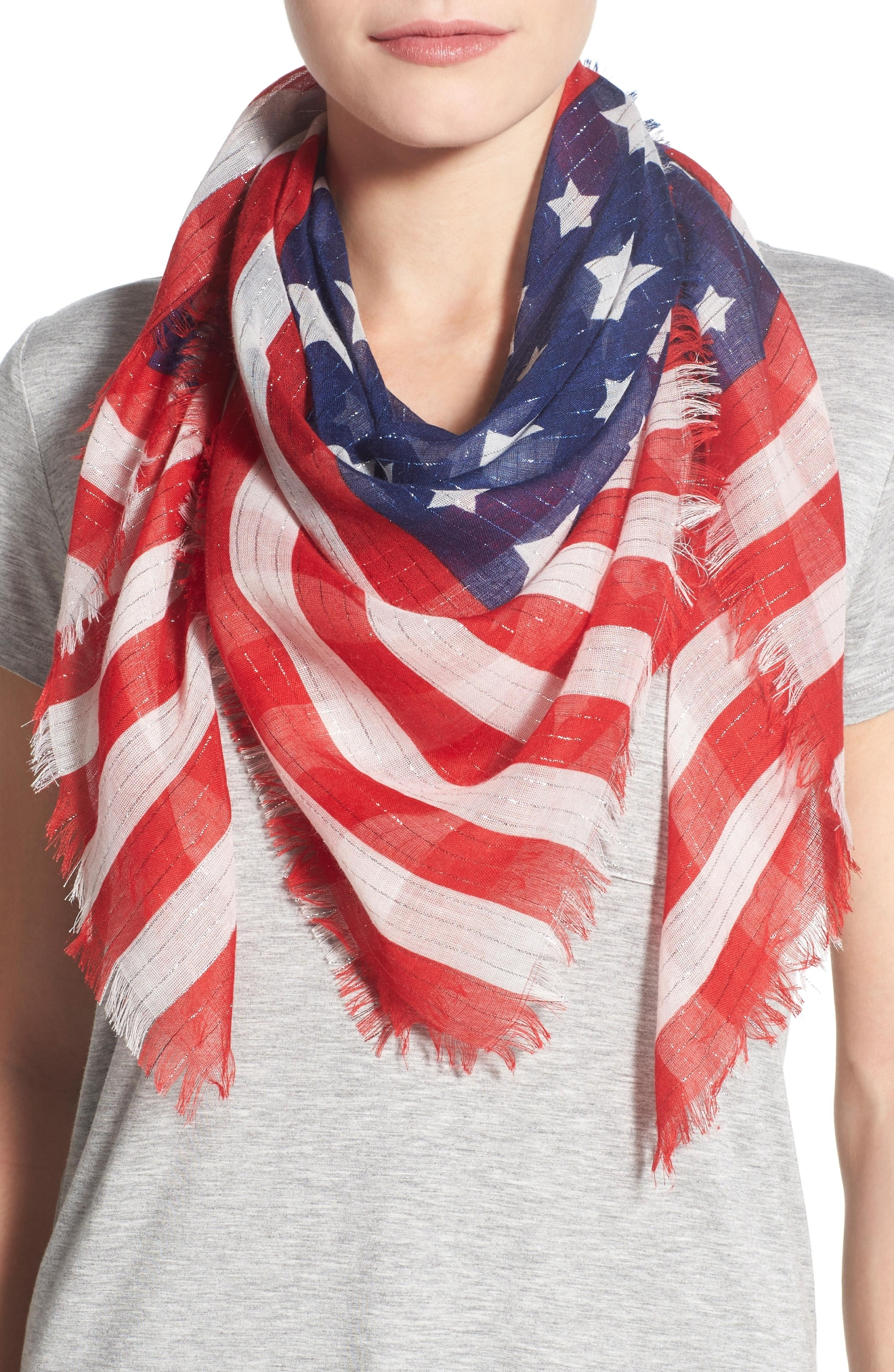 A light scarf is the perfect accessory to amp up any lackluster outfit without adding too many layers to the equation. Collection XIIX 'Flag' Square Scarf, $32, shop.nordstrom.com (Image: Courtesy Nordstrom)