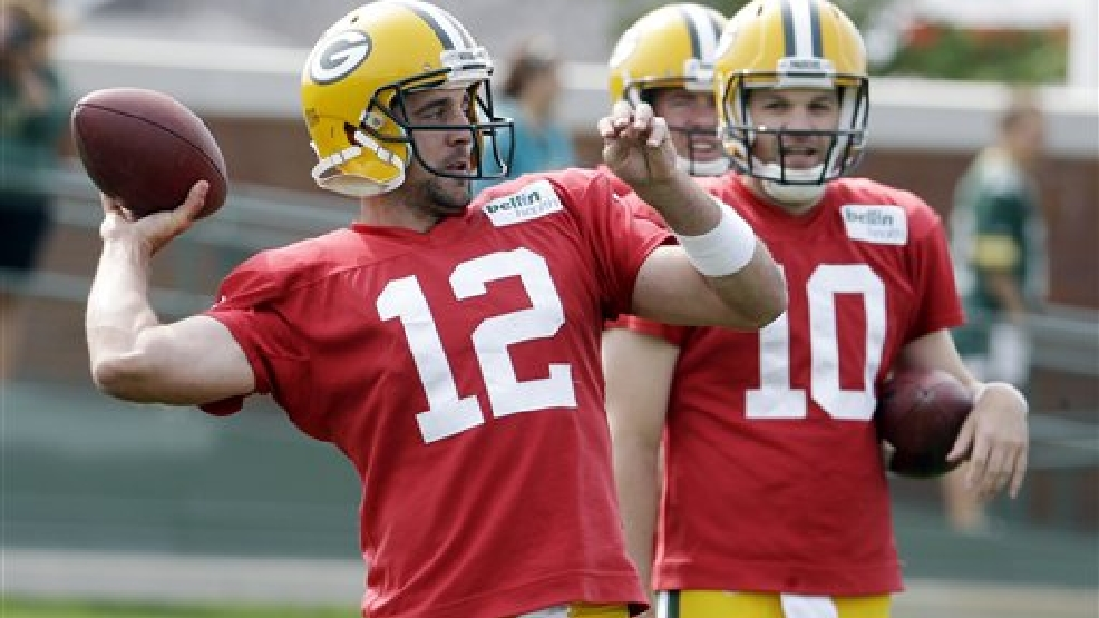 Green Bay Packers? Aaron Rodgers during NFL football training camp Monday, July 28, 2014, in Green Bay. (AP Photo/Morry Gash)