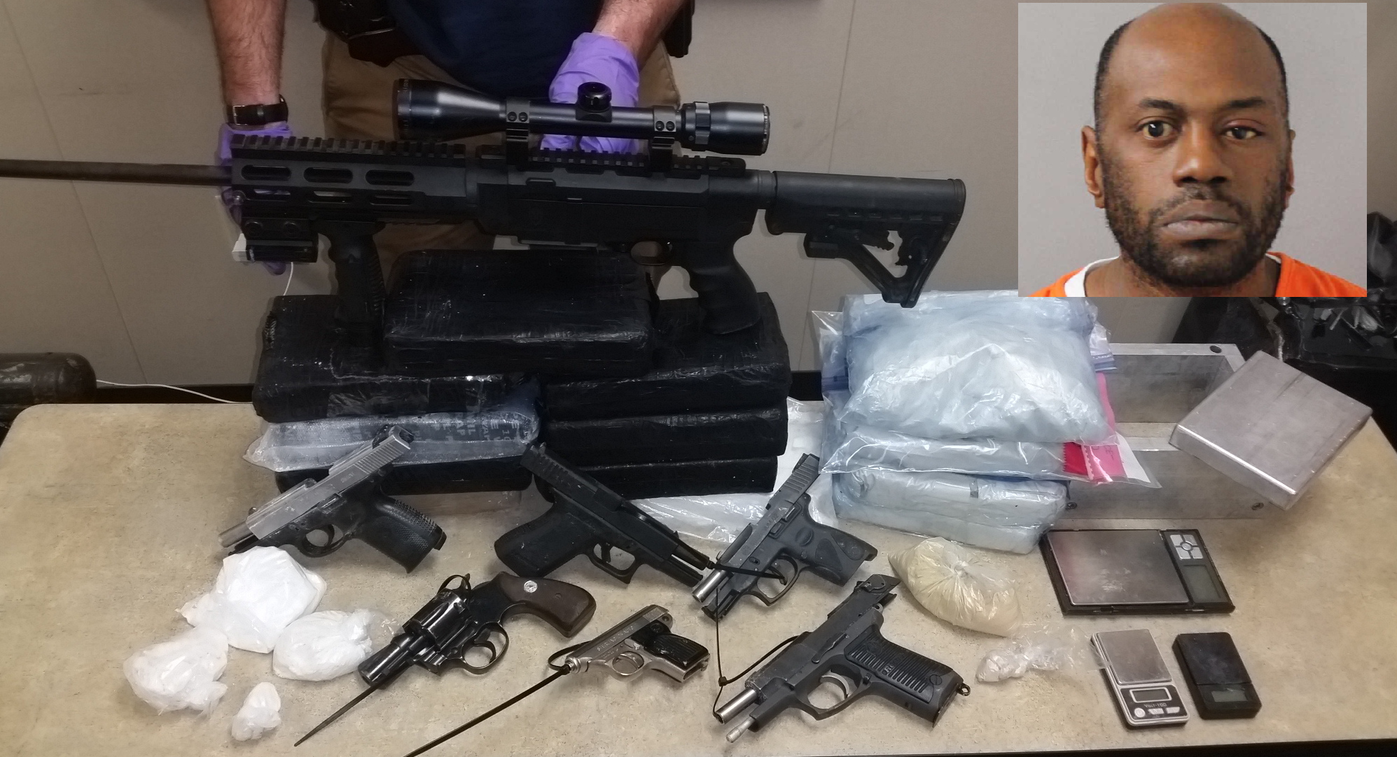 Weapons and drugs seized in Walter Jones arrest. PHOTOS: Metro Nashville Police<p></p>