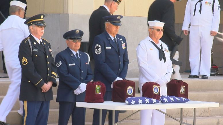 Four unclaimed veterans from the Army, Navy and Air Force.  (By:  Steve Douglass, KVII)