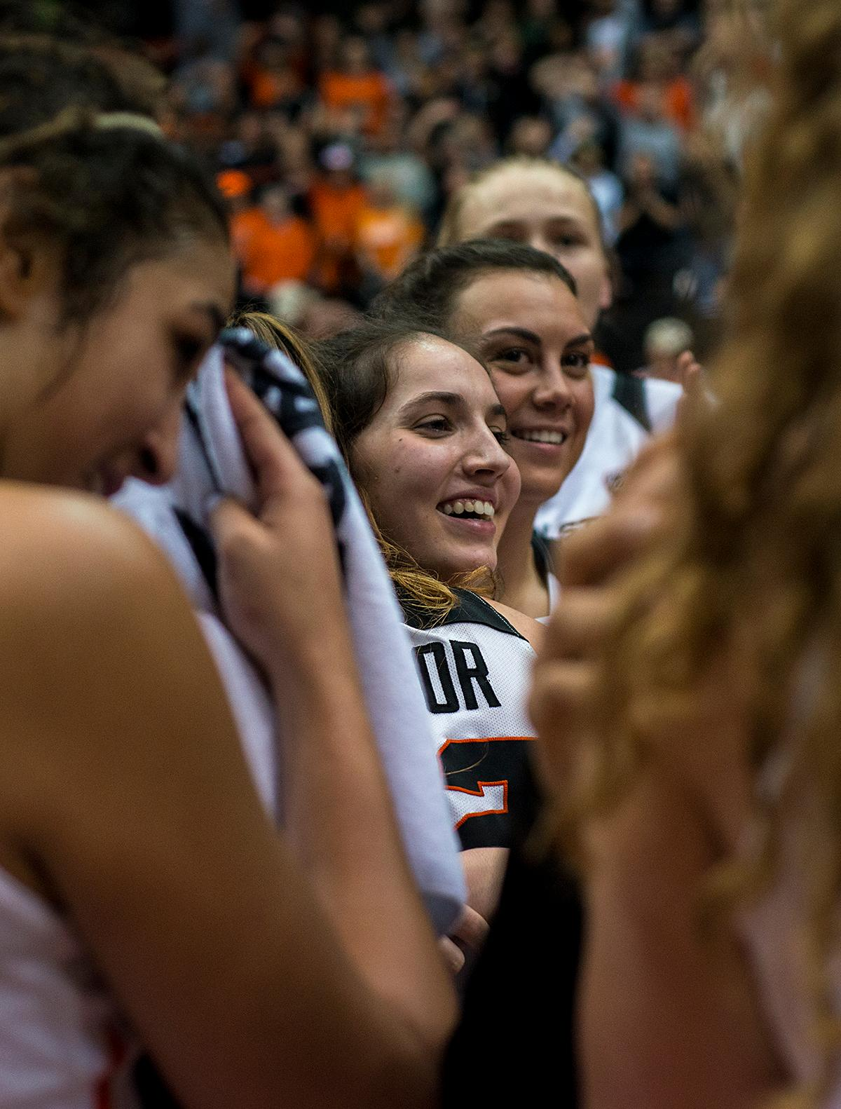 The Oregon State Beavers celebrate their win.The Oregon Ducks were defeated by the Oregon State Beavers 85-79 on Friday night in Corvallis. Sabrina Ionescu scored 35 points and Ruthy Hebard added 24. The Ducks will face the Beavers this Sunday at 5 p.m. at Matthew Knight Arena. Photo by Abigail Winn, Oregon News Lab