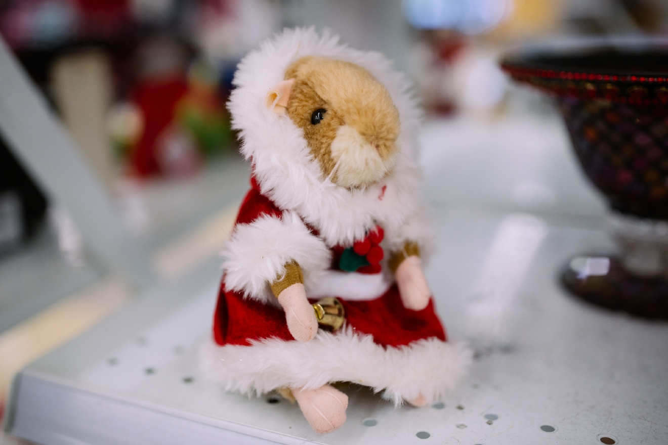 Stuffed robotic holiday hamster. $1.99  Are you going to a White Elephant Gift Exchange this year? We headed to our local Value Village to give you some gift ideas and how much they cost. (Image: Joshua Lewis / Seattle Refined)