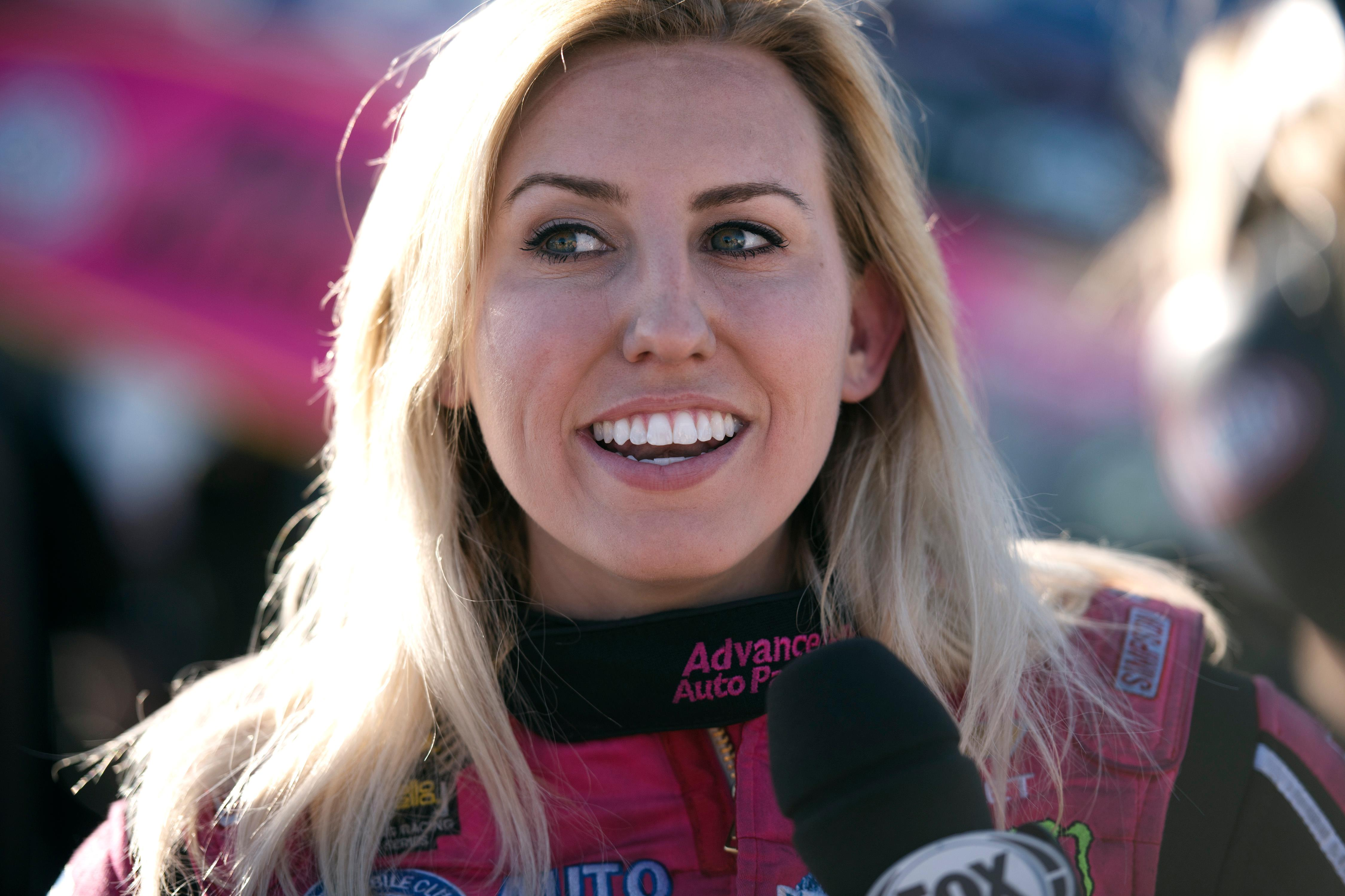 Funny Car driver Courtney Force is interviewed after a heat during the NHRA Toyota Nationals Sunday, October 29, 2017, at The Strip at the Las Vegas Motor Speedway. CREDIT: Sam Morris/Las Vegas News Bureau