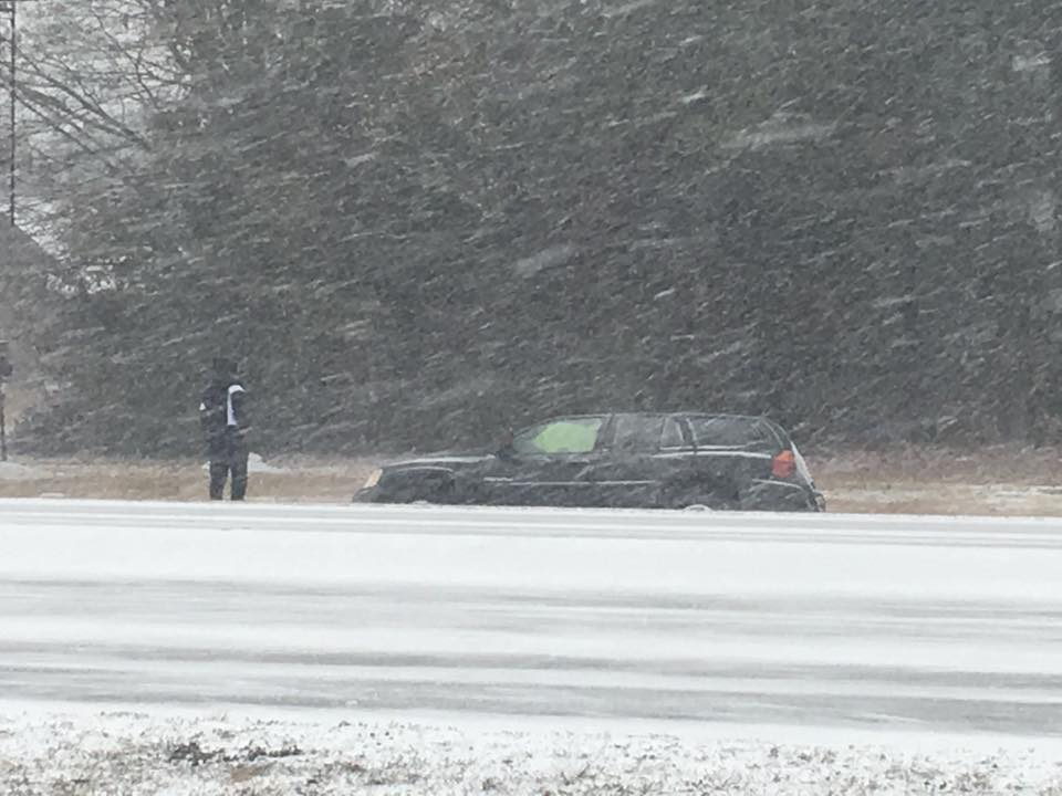 Car slid into a ditch off of Hwy 76 in Florence (Tonya Brown/WPDE)<p></p>