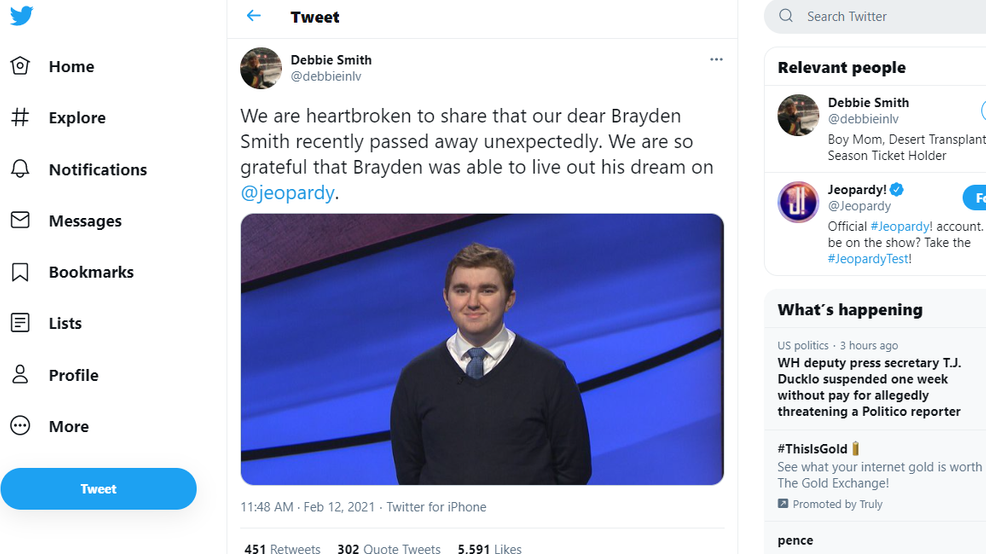 A twitter post talking about the death of Brayden Smith