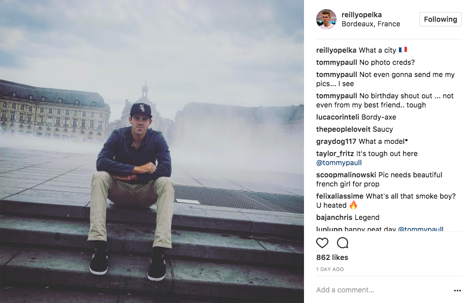 Reilly Opelka shares a cool shot in Bordeaux, France on Instagram