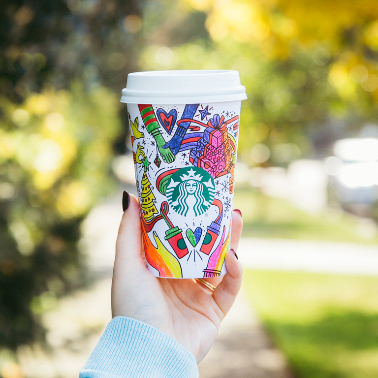 Starbucks 2017 holiday cups photographed on Monday, Oct. 23, 2017. (Starbucks)