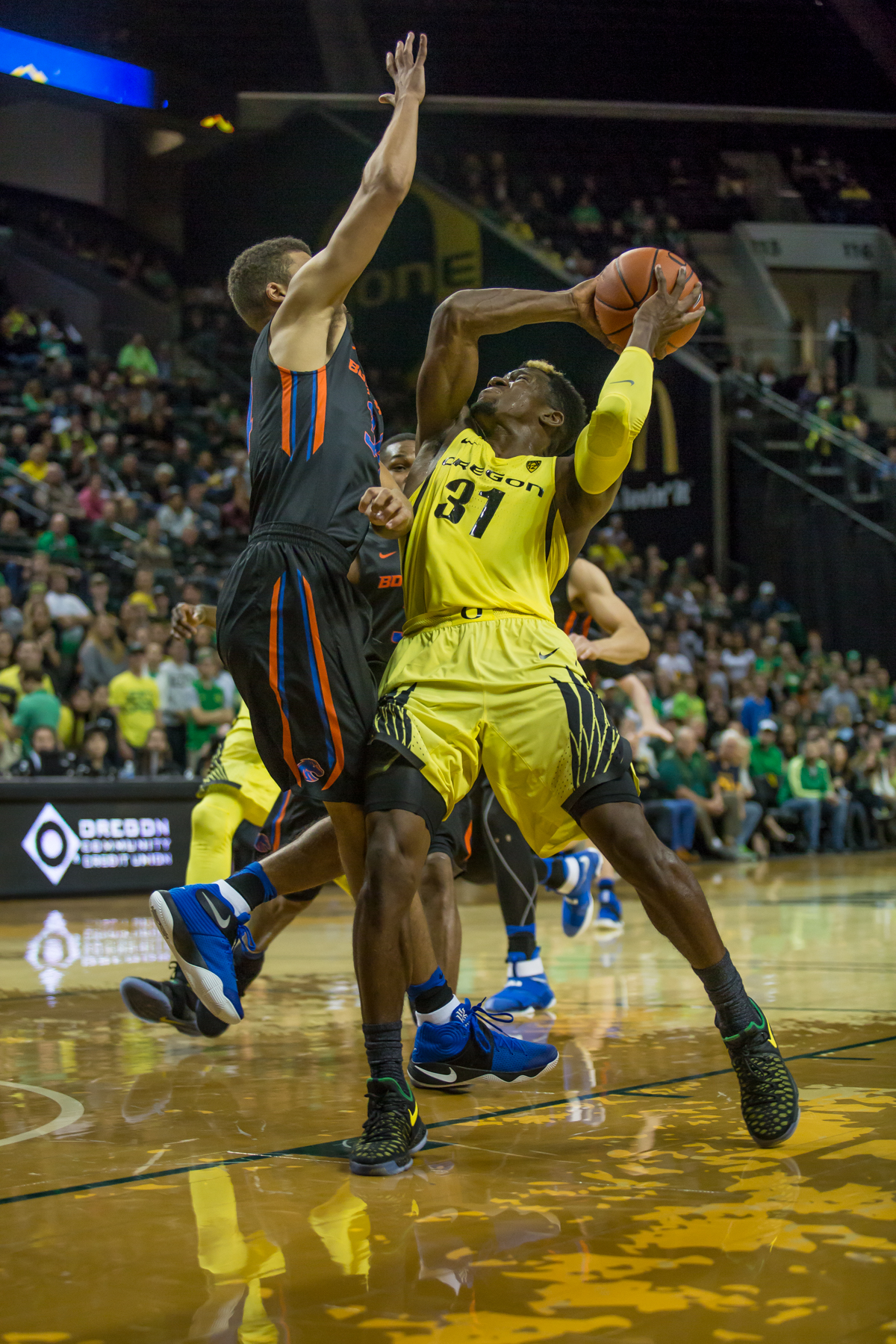 Oregon forward Dylan Ennis (#31) attempts to shoot the ball over Boise State guard Alex Hobbs (#34). After trailing for most of the game, the Oregon Ducks defeated the Boise State Broncos 68-63. Photo by Dillon Vibes