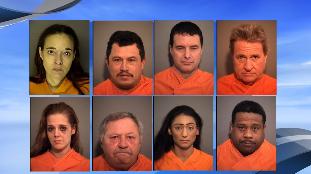 North Myrtle Beach police arrested eight people on Jan. 13 on charges of prostitution, according to police reports. (NMB police / WPDE background)
