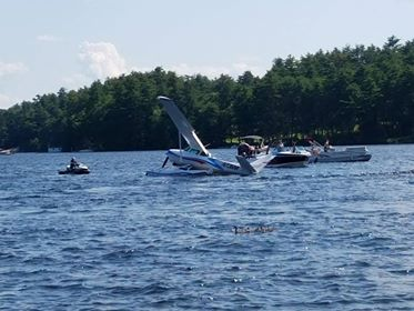 A seaplane crashed into Brandy Pond in Naples Saturday afternoon. CTSY: Stuart Ljunggren