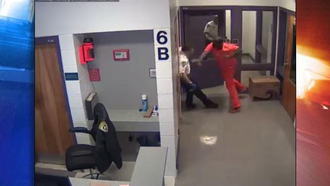 Florida detention deputy attacked by inmate. (Hillsborough County Sheriff's Office)