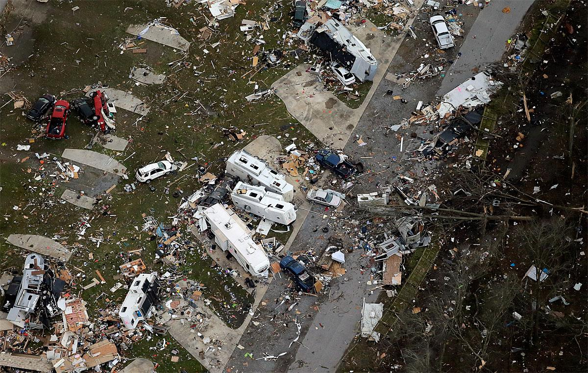 This aerial photo shows damage after a tornado ripped through the Sugar Hill Recreational Park in