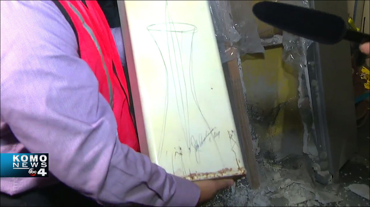 The outside of the time capsule box, complete with sketch of Space Needle.{ }(KOMO Photo)