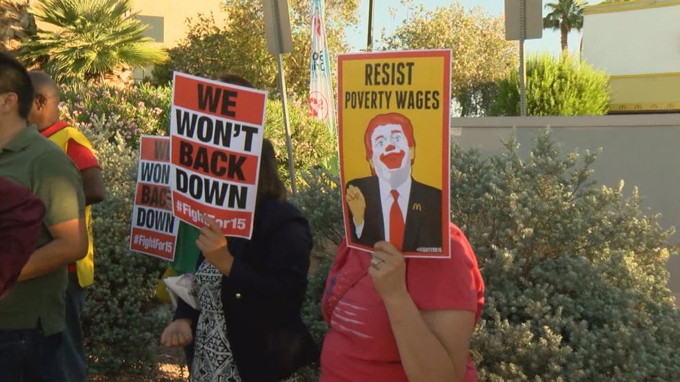 local mcdonalds employees protest for higher wage ksnv. Black Bedroom Furniture Sets. Home Design Ideas