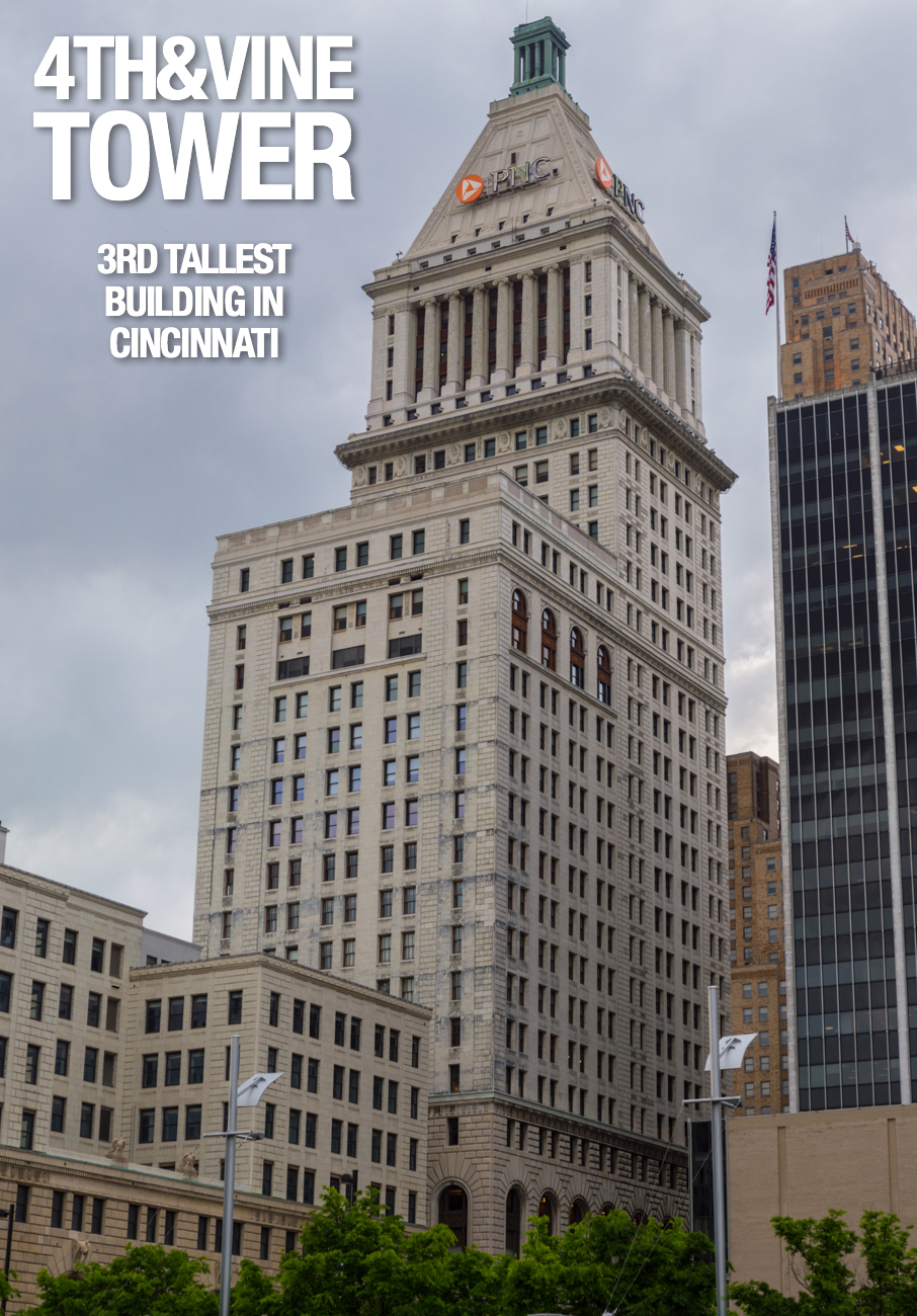 4th & Vine Tower: 495 feet tall, 31 floors, built in 1913 / Image: Phil Armstrong, Cincinnati Refined // Published: 2.21.17