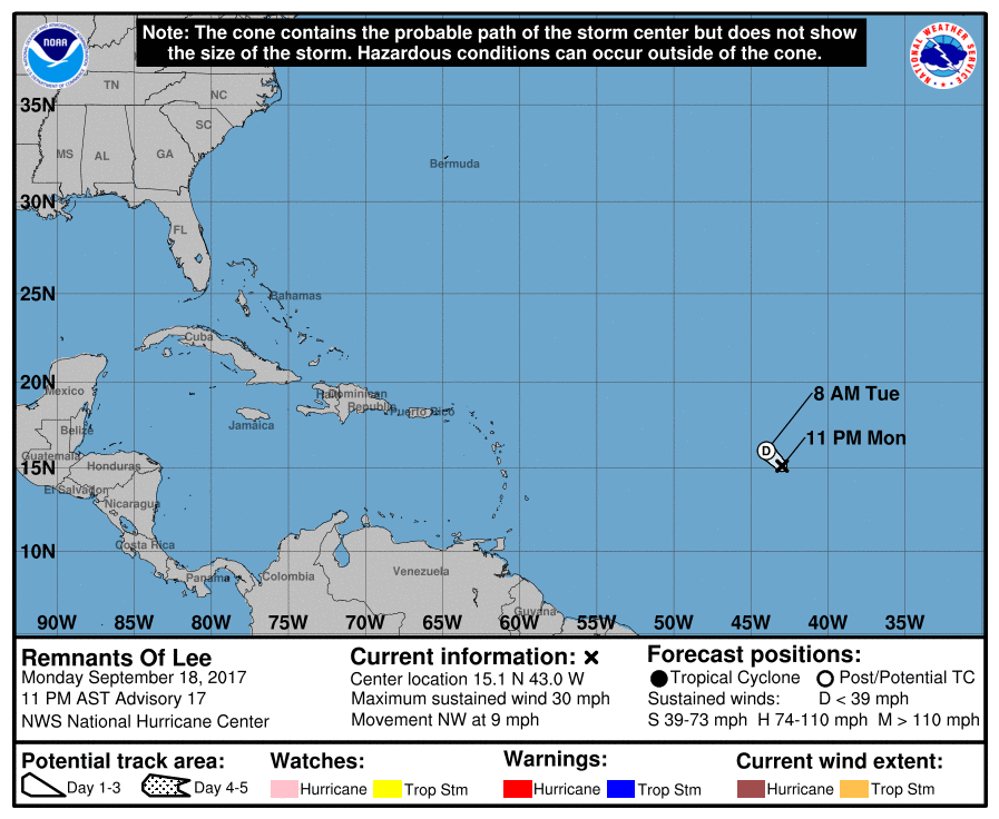 Tropical Storm Lee - Formed out into the Atlantic on September 16. Shortly weakened into a tropical depression the very next day. (NOAA)