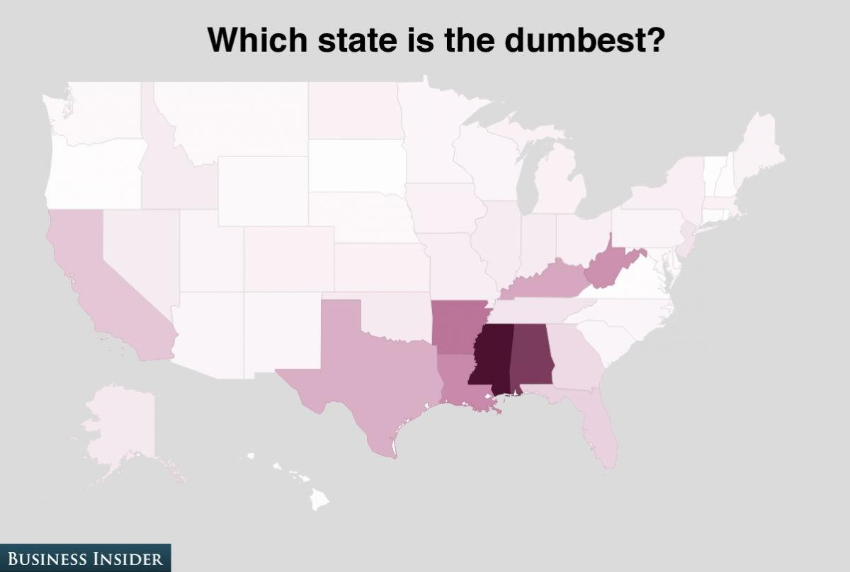 Mississippi is believed to be the dumbest. The state gathered 16% of the poll.