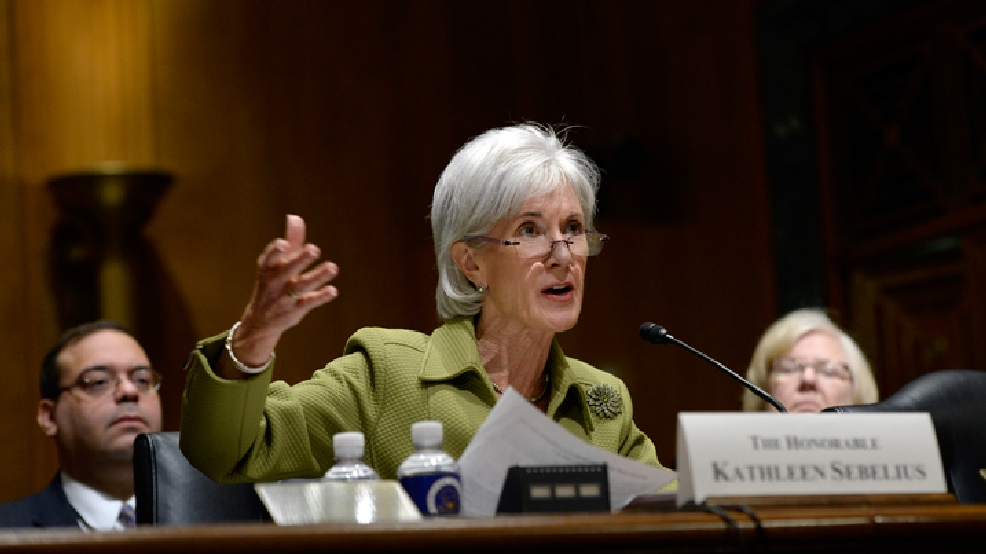 Health and Human Services Secretary Kathleen Sebelius testifies on Capitol Hill in Washington, Thursday, April 10, 2014, before the Senate Finance Committee hearing on the HHS Department's fiscal Year 2015 budget. (AP Photo/Susan Walsh)