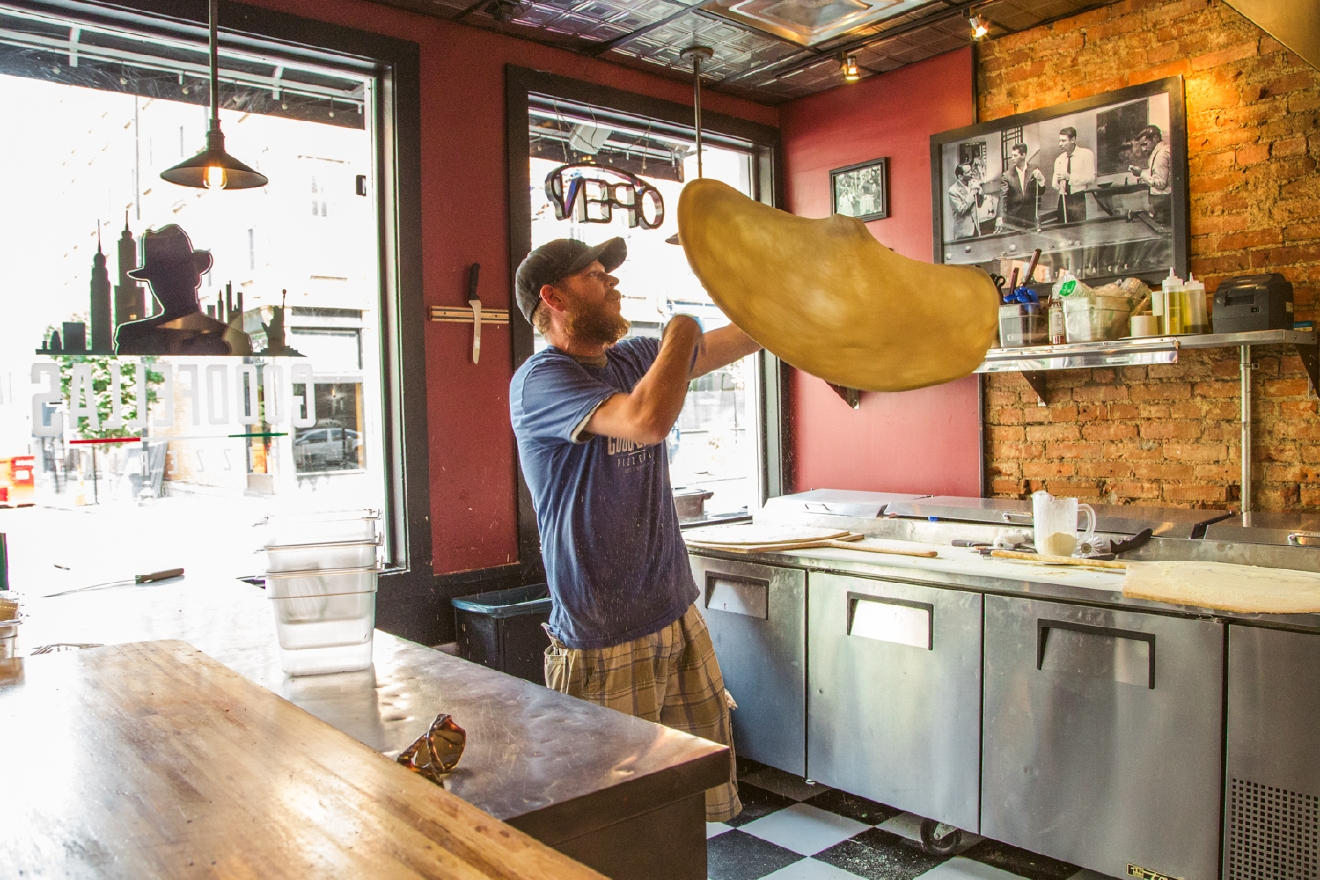 Goodfellas Pizzeria is your go-to spot for New York-style pizza. It's located at 1211 Main Street in Over-the-Rhine and sits below Wiseguy Lounge, which is the speakeasy bar that's featured in most of the images in this gallery. / Image: Catherine Viox