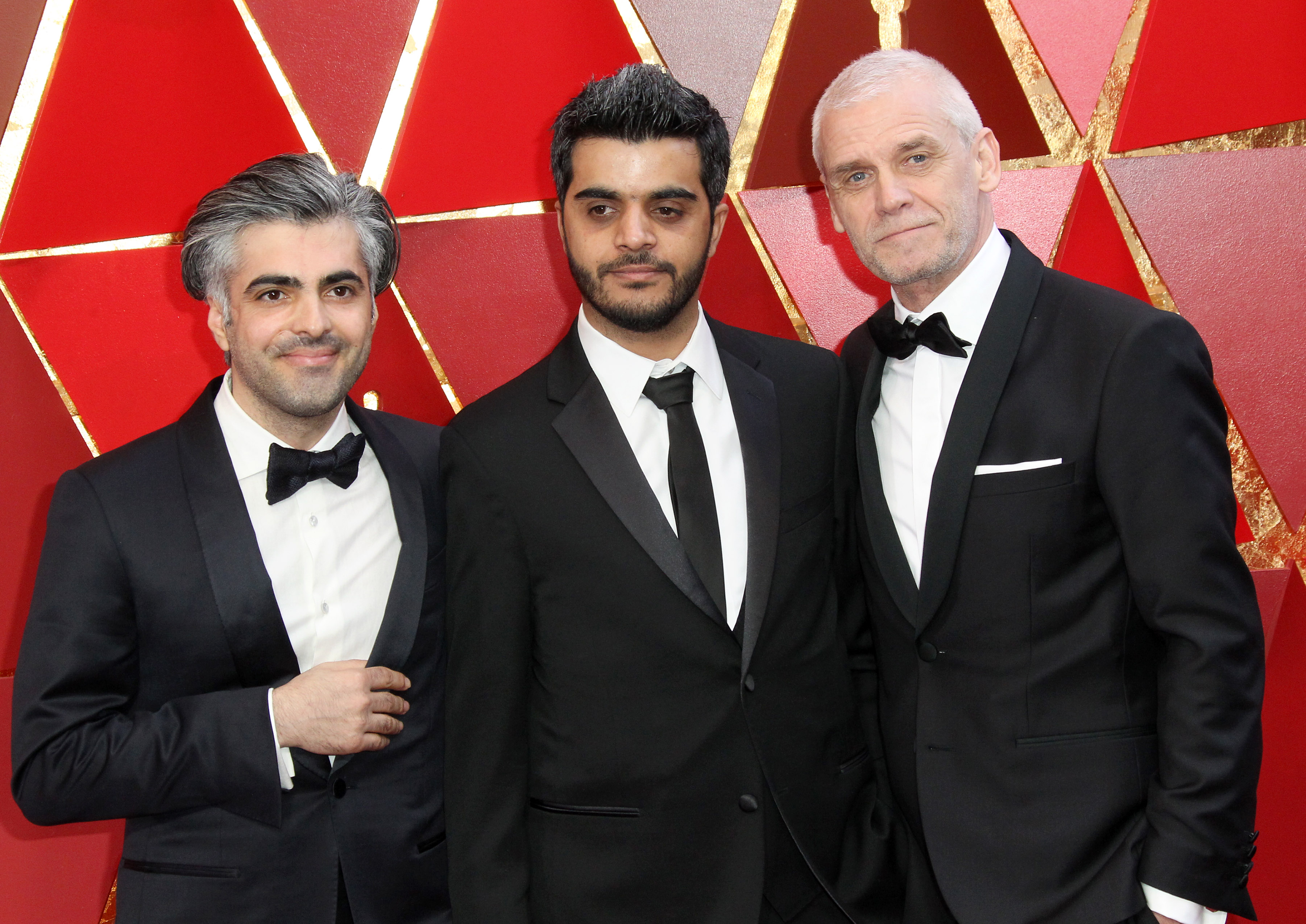 Feras Fayyad, Kareem Abeed and Soren Steen Jespersen{&amp;nbsp;}arrive at the 90th Annual Academy Awards (Oscars) held at the Dolby Theater in Hollywood, California. (Image: Adriana M. Barraza/WENN.com)<p></p>