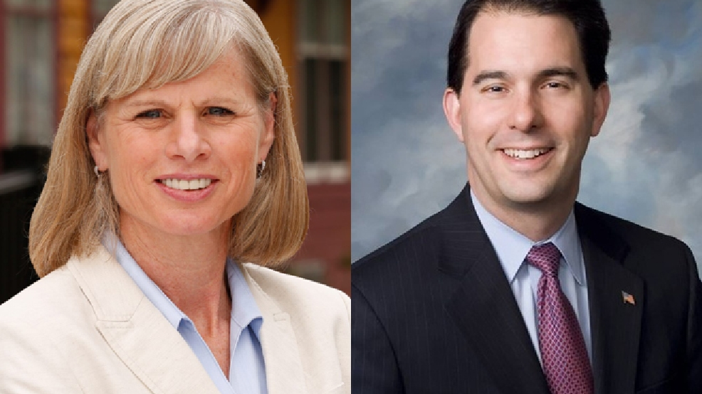 Mary Burke (D), left, and Scott Walker (R)