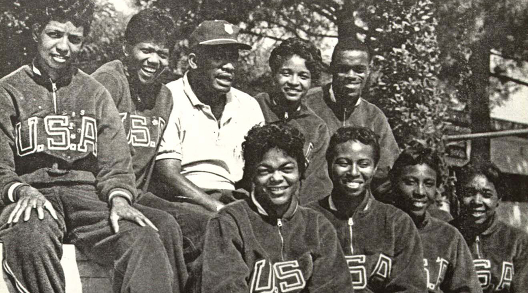 TSU Coach Ed Temple and his famed Tigerbelles. (Courtesy Tennessee State University Archives)