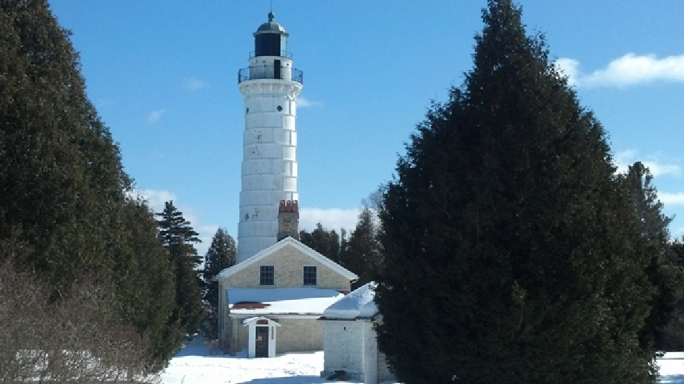 The Cana Island Lighthouse in Baileys Harbor is seen, Feb. 25, 2014. (WLUK/Eric Peterson)