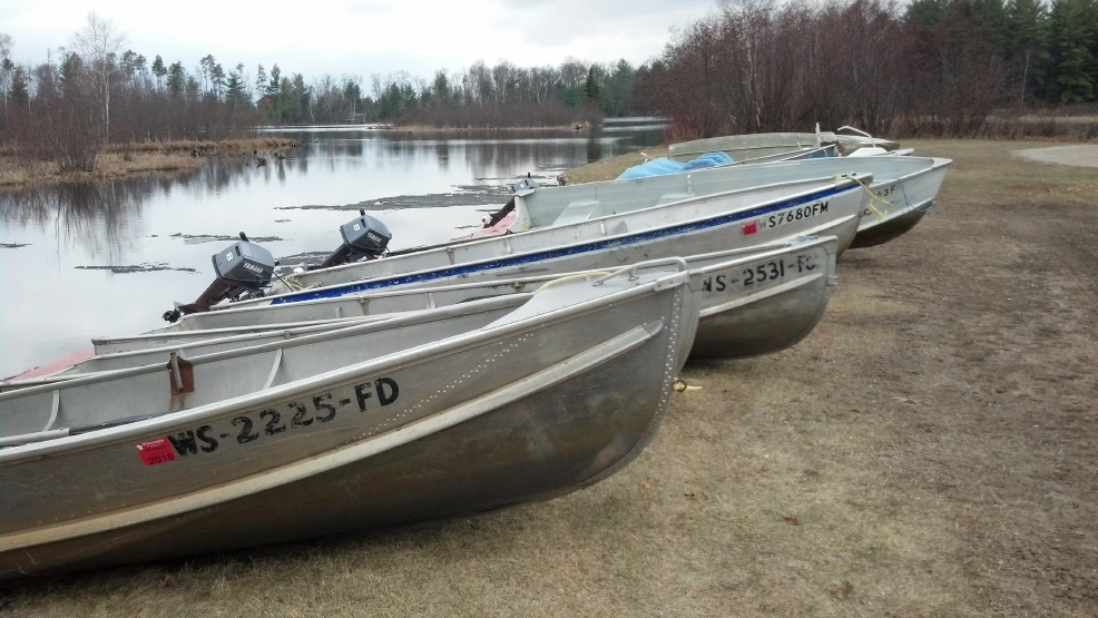 Fishing boats are ready along the shore of High Falls Reservoir near Crivitz.