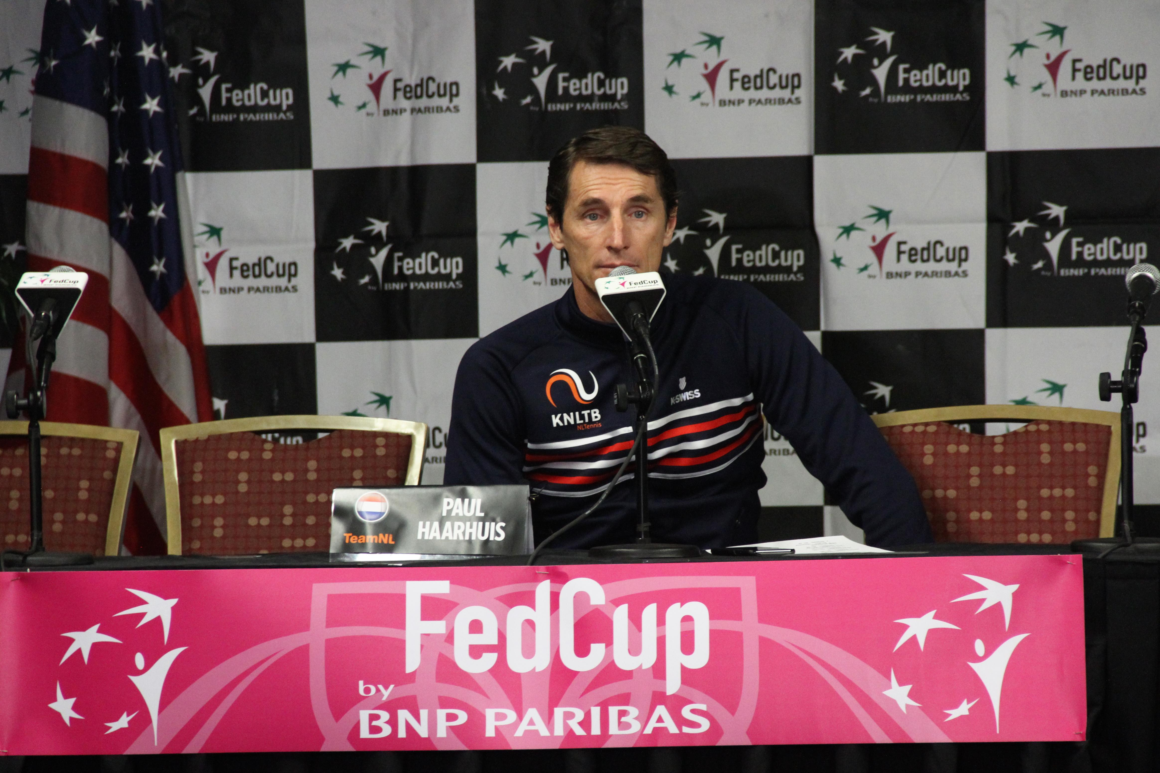 Netherlands coach Paul Haarhuis talks to the media on Feb. 7, 2018, ahead of the Fed Cup. (Photo credit: WLOS Staff)