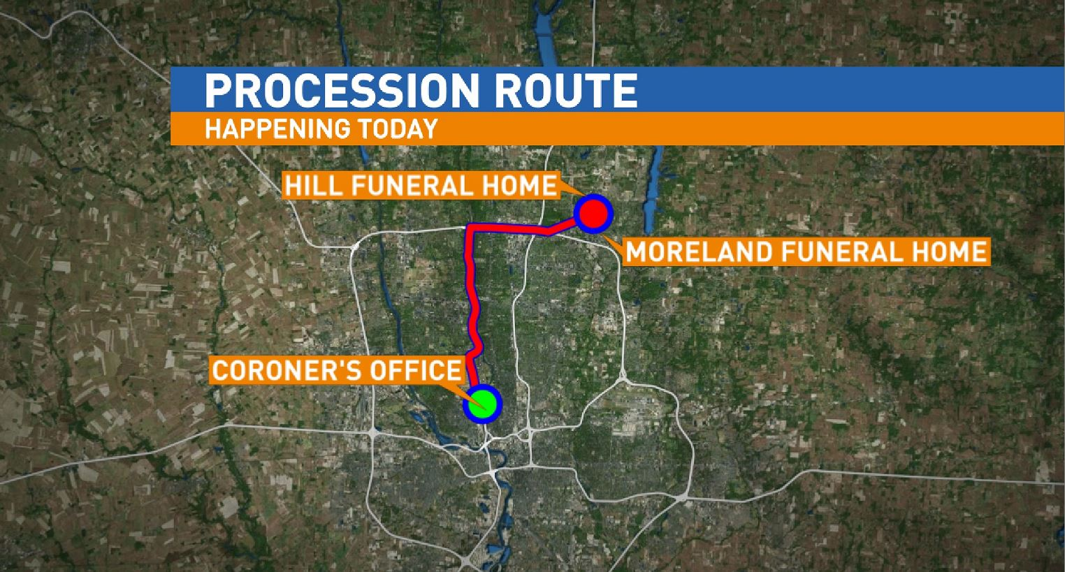 The procession route officers across Central Ohio will travel on to honor the fallen Westerville Police officers. (WSYX/WTTE)<p></p>