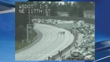 Downed power line causes huge traffic jam on I-5 in North Seattle