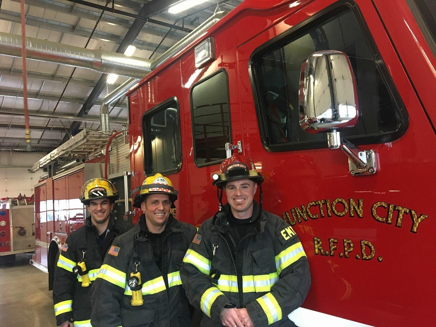 <p>Three Junction City firefighters are training for the annual{&amp;nbsp;}<a  href=&quot;http://www.llswa.org/site/PageServer?pagename=ff_home&quot; target=&quot;_blank&quot; title=&quot;http://www.llswa.org/site/PageServer?pagename=ff_home&quot;>Scott Firefighter Stair Climb</a>{&amp;nbsp;}this weekend. It's a fundraiser for the Leukemia and Lymphoma Society. (SBG)</p>