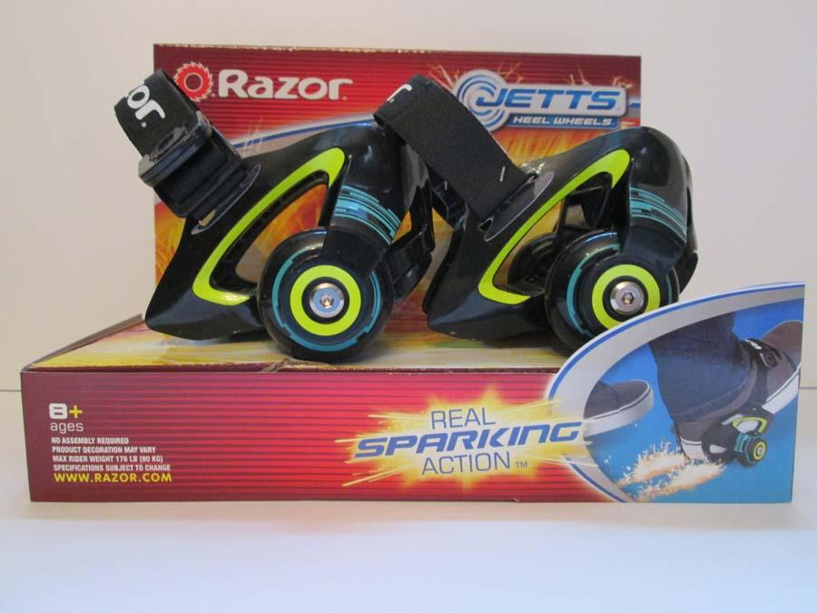 "W.A.T.C.H. OUT! ""Heel Wheels"" are marketed to be strapped to heels of children's shoes so footwear can be transformed into a type of rear-wheel roller skate. The manufacturer adds ""real sparking"" action to the ""Jetts"" with ""skid pads"", as evidenced by numerous warnings, including: ""Keep sparks away from eyes, hair, exposed skin and clothing. Sparks can burn."" (Photo and caption provided by WATCH)"